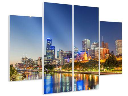 Hartschaumbild 4-teilig Skyline Sydney in der Abenddämmerung