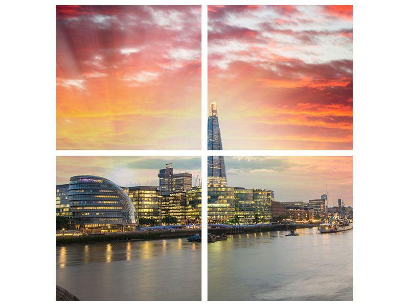 Hartschaumbild 4-teilig Skyline London im Abendrot