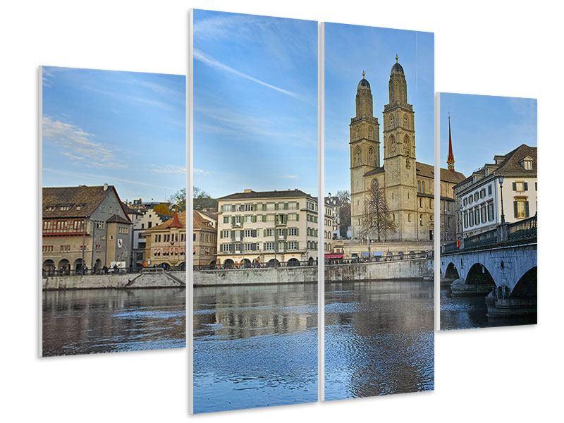 Hartschaumbild 4-teilig Die Altstadt von Zürich