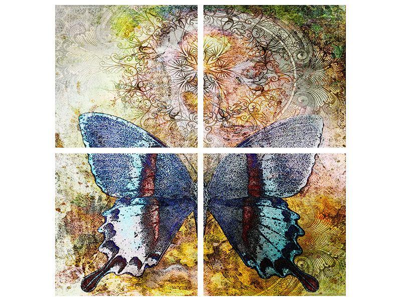 Hartschaumbild 4-teilig Ornament-Schmetterling