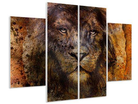 Hartschaumbild 4-teilig Portrait eines Löwen