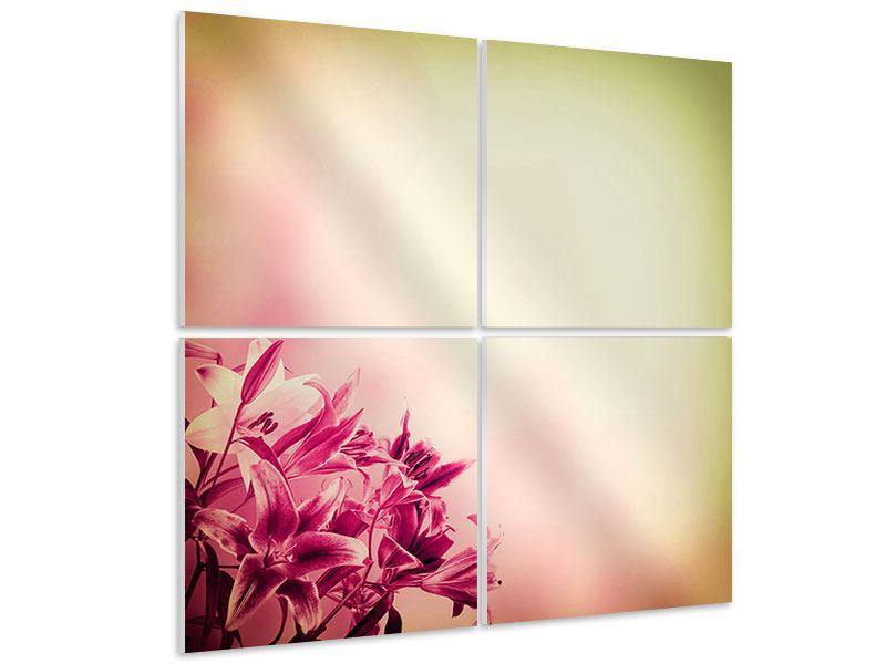 Hartschaumbild 4-teilig Colored Lilien