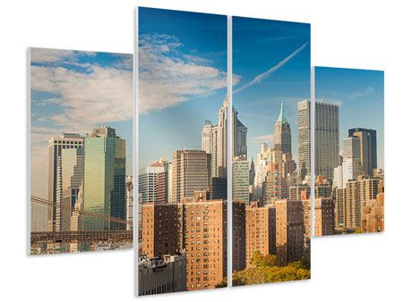 Hartschaumbild 4-teilig Skyline New York