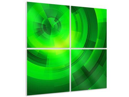 Hartschaumbild 4-teilig Perspektiven in Grün