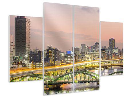 Hartschaumbild 4-teilig Skyline Das Lichtermeer von Tokio