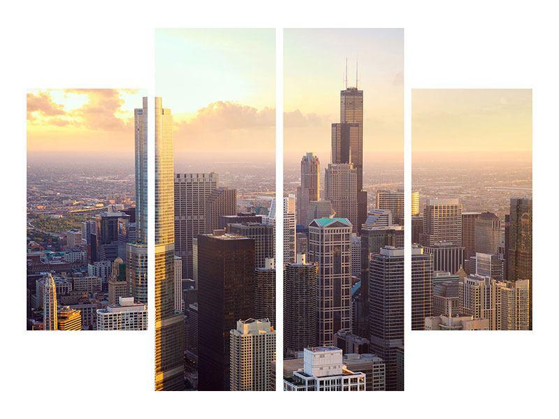 Hartschaumbild 4-teilig Skyline Chicago