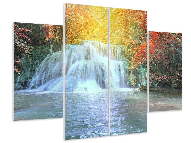 Hartschaumbild 4-teilig Wasserfall im Licht