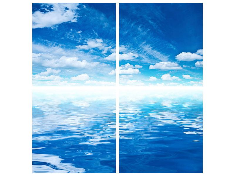 Hartschaumbild 4-teilig Himmel und Wasser