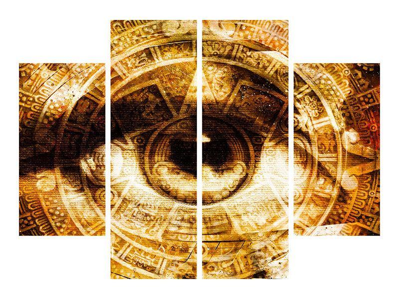 Hartschaumbild 4-teilig Fraktales Auge