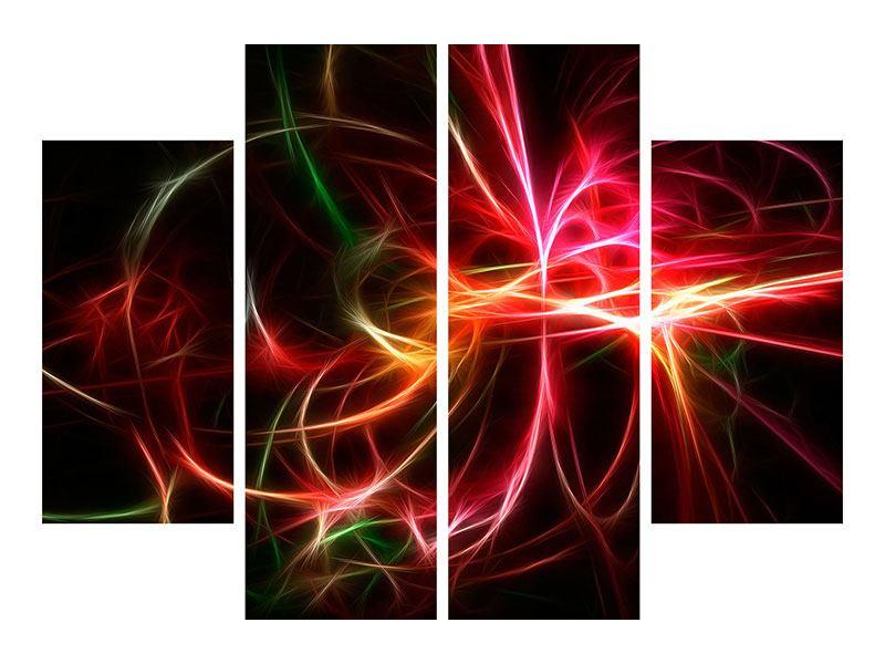 Hartschaumbild 4-teilig Fraktales Lichtspektakel