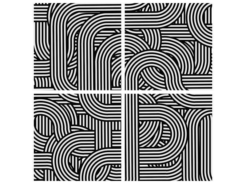 Hartschaumbild 4-teilig 3D Black & White