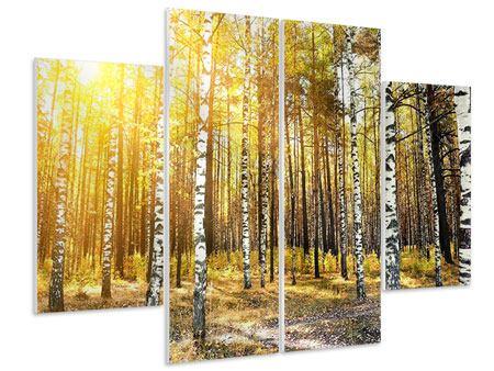 Hartschaumbild 4-teilig Birkenwald