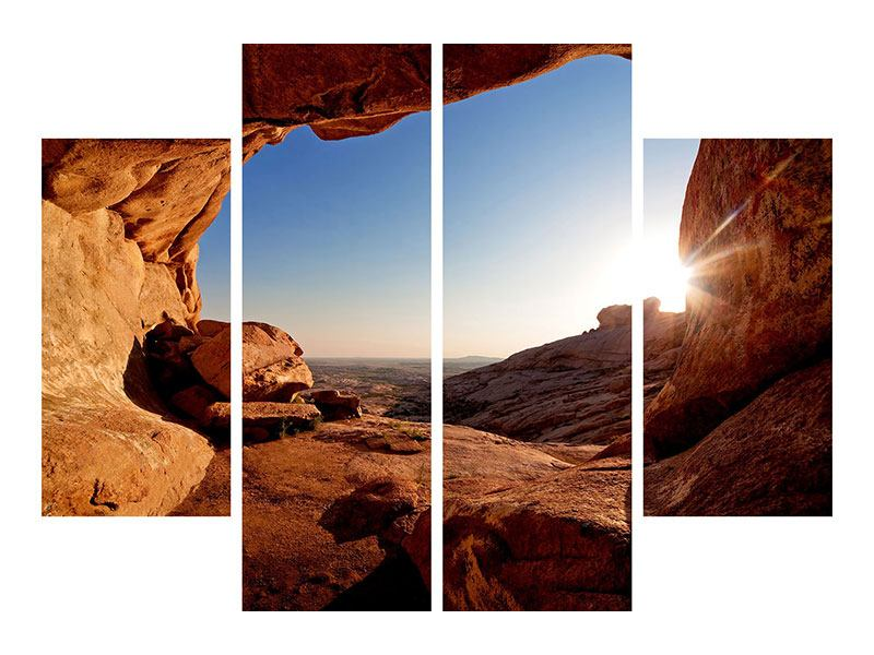 Hartschaumbild 4-teilig Sonnenuntergang vor der Höhle