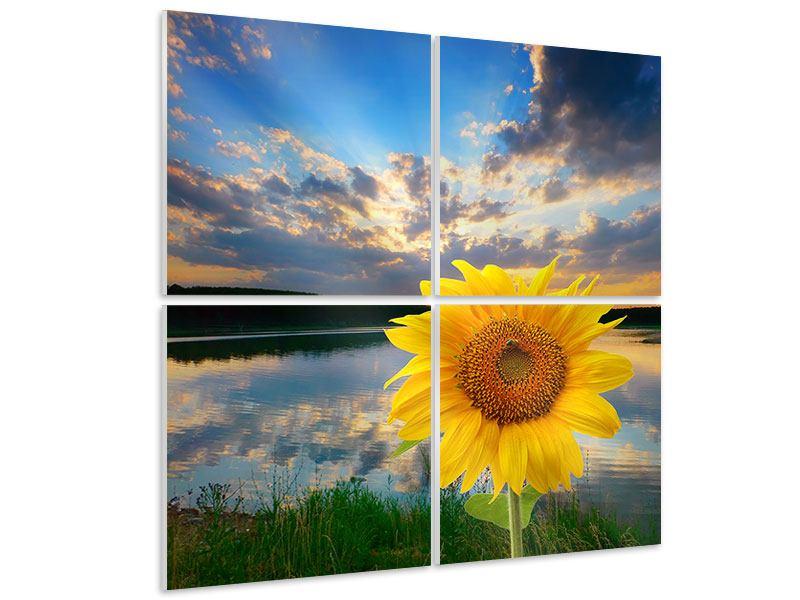 Hartschaumbild 4-teilig Sonnenblume am See
