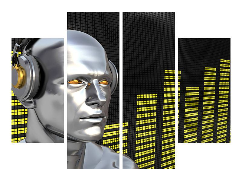 Hartschaumbild 4-teilig Futuristischer DJ