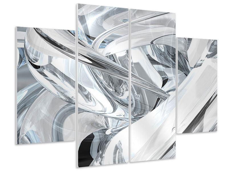 Hartschaumbild 4-teilig Abstrakte Glasbahnen