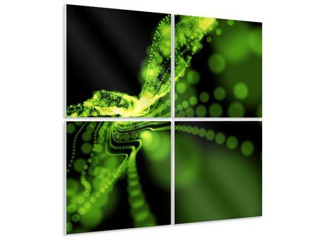 Hartschaumbild 4-teilig Grünes Lichterspiel