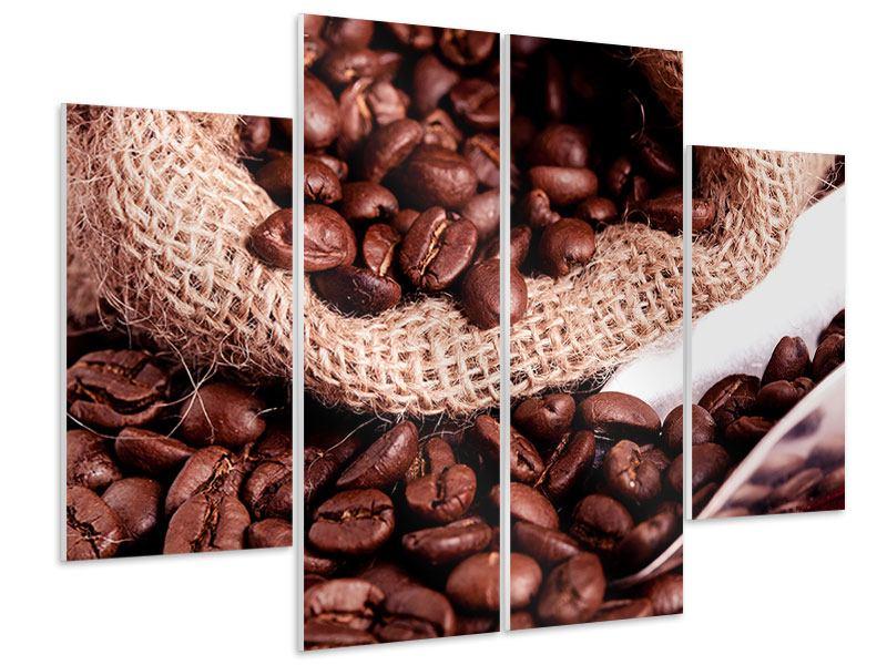 Hartschaumbild 4-teilig XXL Kaffeebohnen