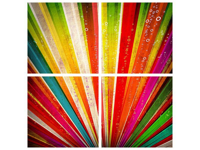 Hartschaumbild 4-teilig Abstrakte Farbstrahlen