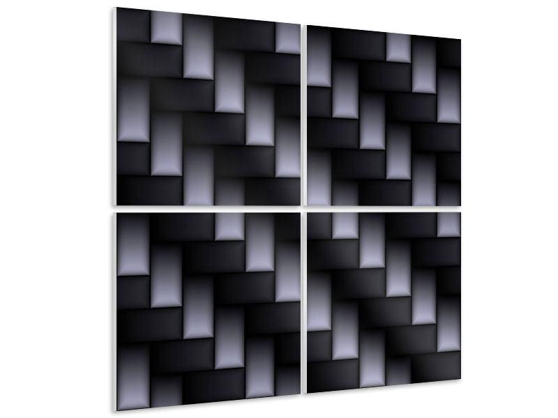 Hartschaumbild 4-teilig 3D-Treppen