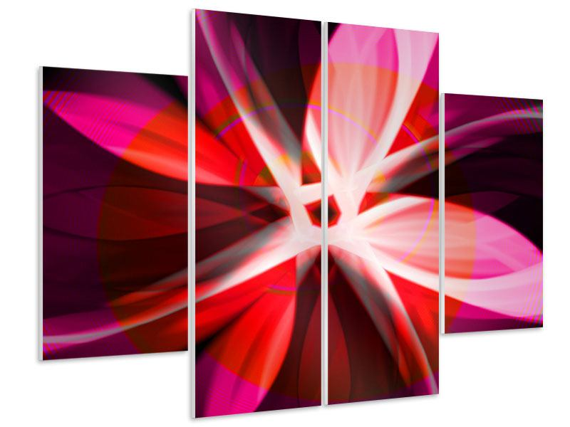 Hartschaumbild 4-teilig Abstrakt Flower Power