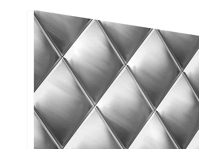Hartschaumbild 4-teilig 3D-Rauten Silbergrau