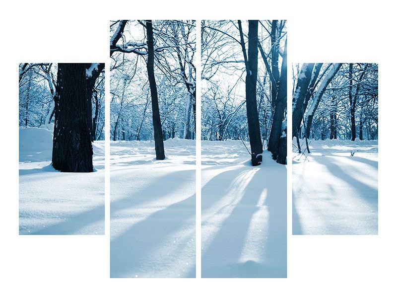 Hartschaumbild 4-teilig Der Wald ohne Spuren im Schnee