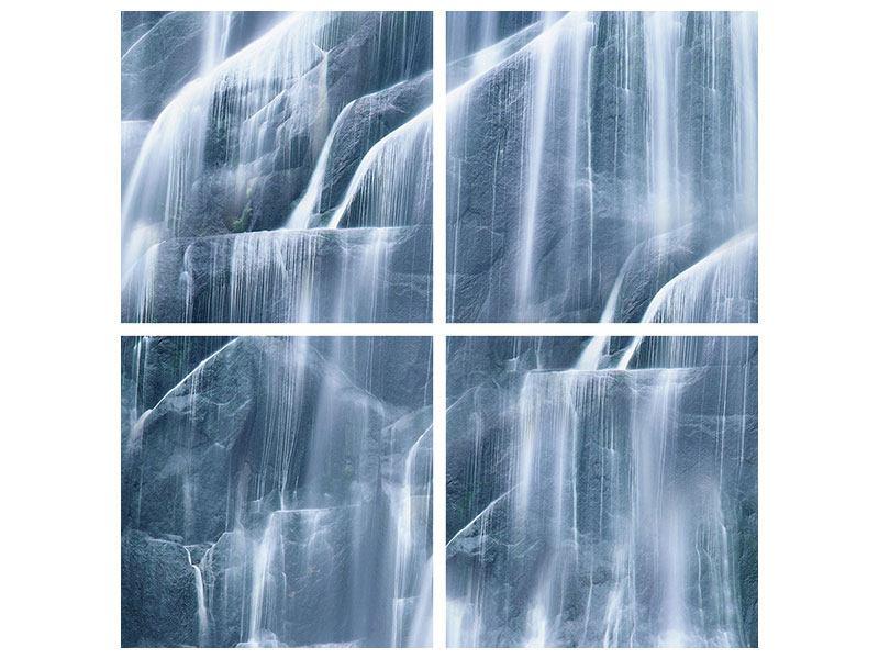 Hartschaumbild 4-teilig Waterfall