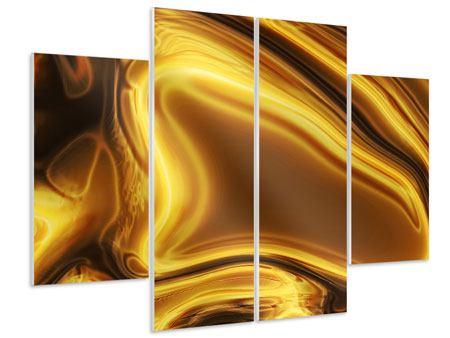 Hartschaumbild 4-teilig Abstrakt Flüssiges Gold