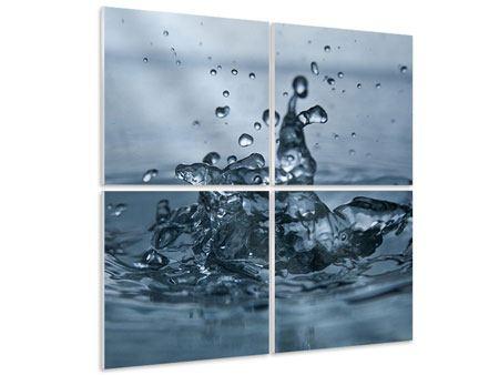 Hartschaumbild 4-teilig Wassertropfen