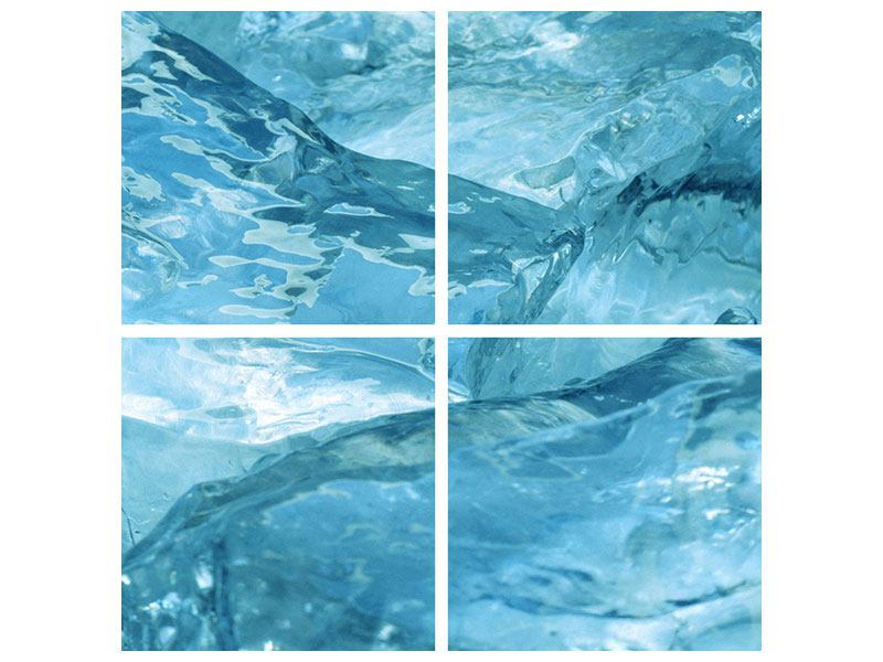 Hartschaumbild 4-teilig Cooler Eislook