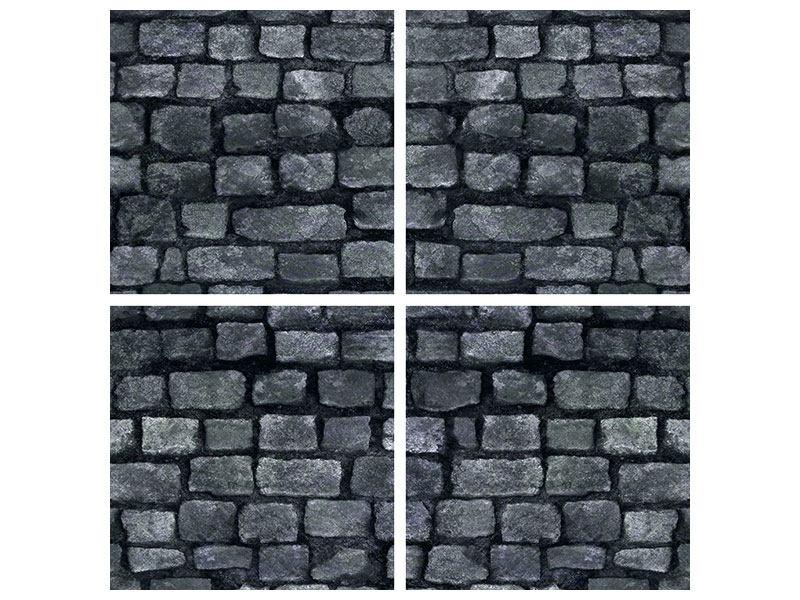 Hartschaumbild 4-teilig Graue Steinmauer