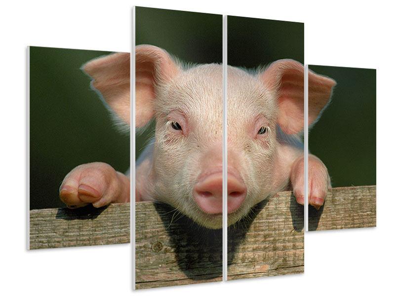 Hartschaumbild 4-teilig Schweinchen Namens Babe