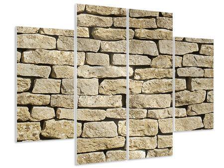 Hartschaumbild 4-teilig Alte Mauer