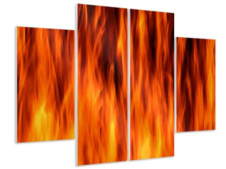 Hartschaumbild 4-teilig Feuer Close Up