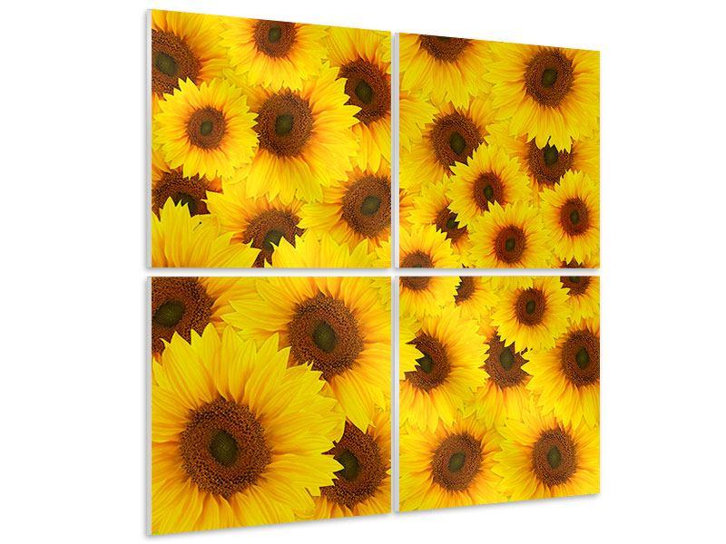 Hartschaumbild 4-teilig Ein Strauss Sonnenblumen