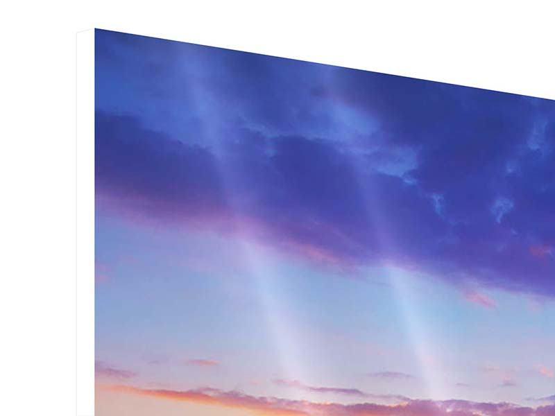 Hartschaumbild 4-teilig Leuchtender Sonnenuntergang