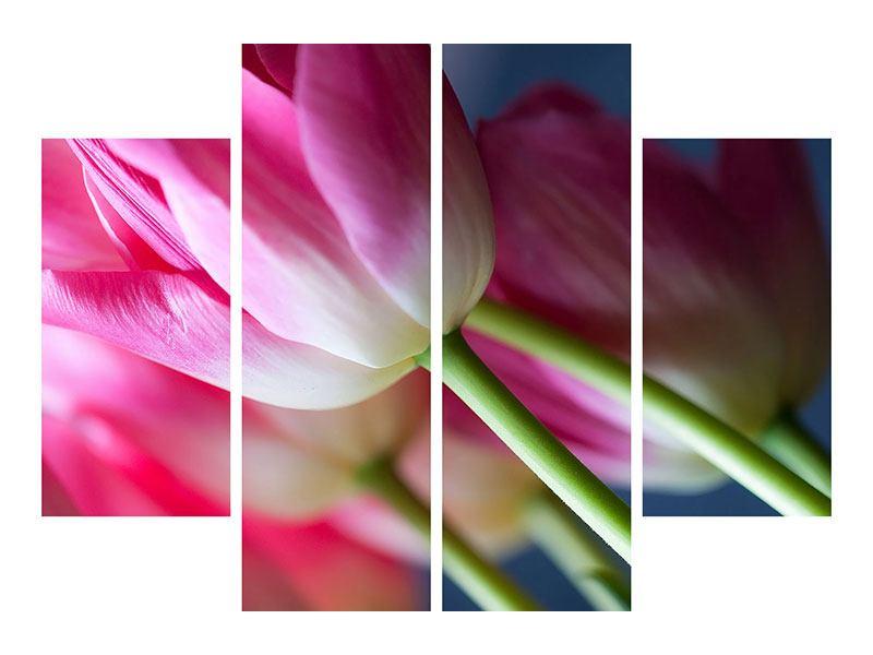 Hartschaumbild 4-teilig Makro Tulpen