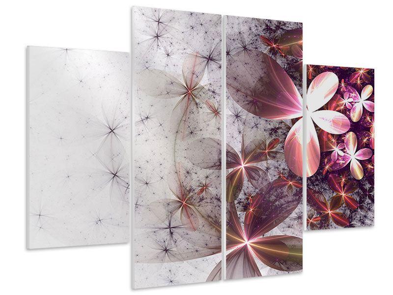 Hartschaumbild 4-teilig Abstrakte Blumen