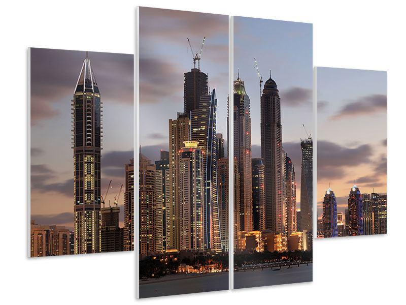 Hartschaumbild 4-teilig Skyline Dubai bei Sonnenuntergang