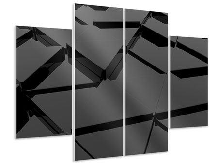 Hartschaumbild 4-teilig 3D-Dreiecksflächen