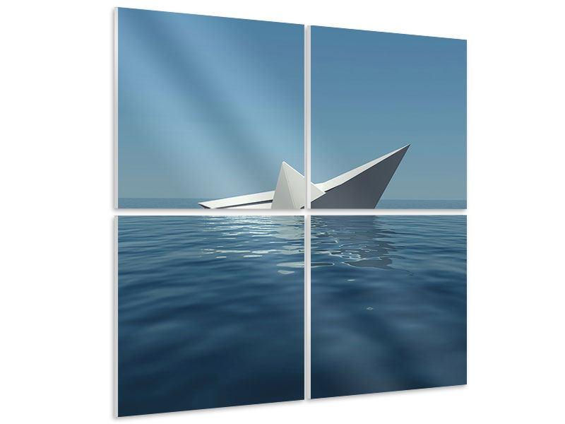 Hartschaumbild 4-teilig Papierschiffchen