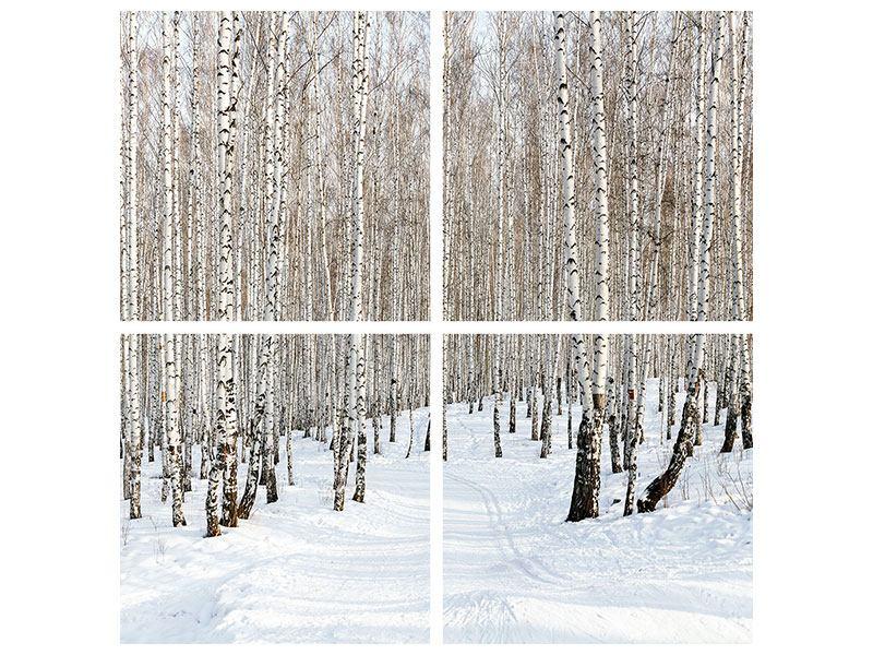 Hartschaumbild 4-teilig Birkenwald-Spuren im Schnee