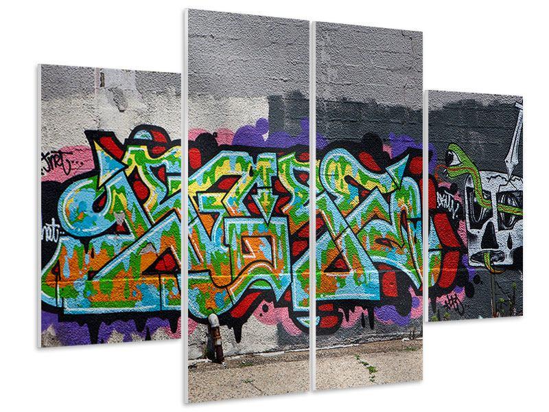 Hartschaumbild 4-teilig Graffiti in New York