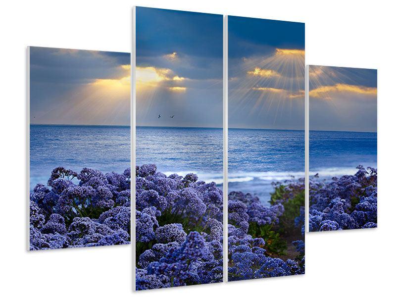 Hartschaumbild 4-teilig Der Lavendel und das Meer