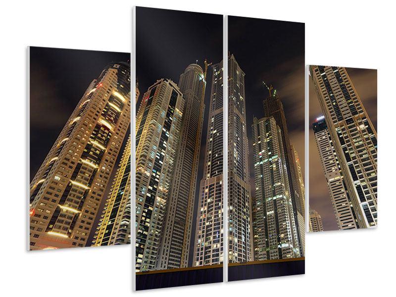 Hartschaumbild 4-teilig Wolkenkratzer Dubai Marina