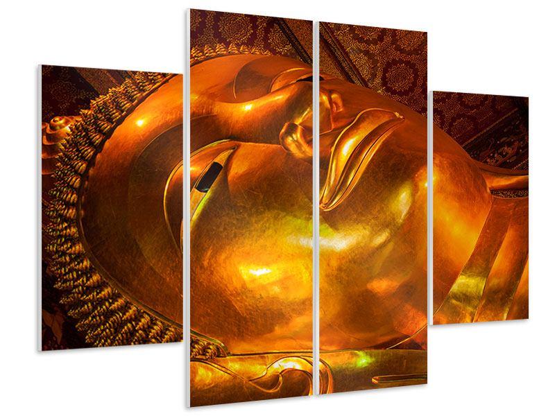 Hartschaumbild 4-teilig Liegender Buddha