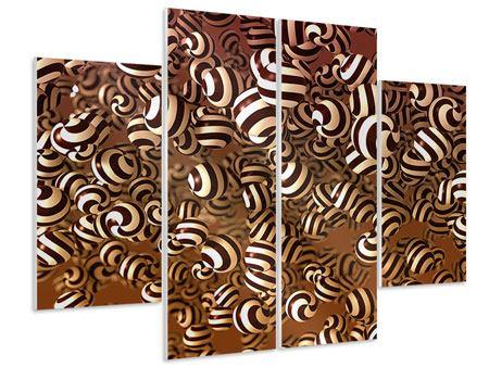Hartschaumbild 4-teilig Schokoladen-Bonbons