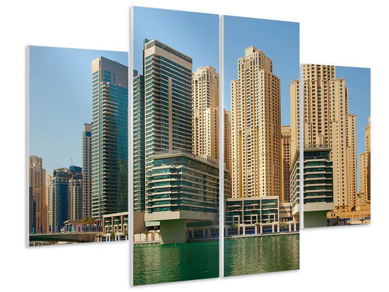 Hartschaumbild 4-teilig Spektakuläre Wolkenkratzer Dubai