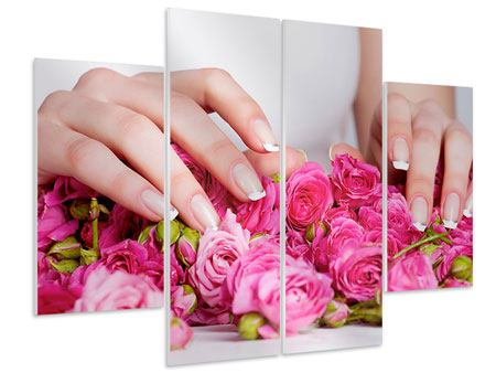 Hartschaumbild 4-teilig Hände auf Rosen gebettet